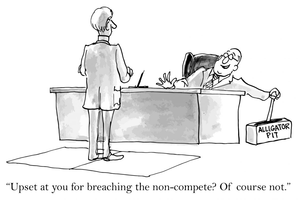Cartoon on non-compete for the website of experienced emplyoment attorneys Chicago