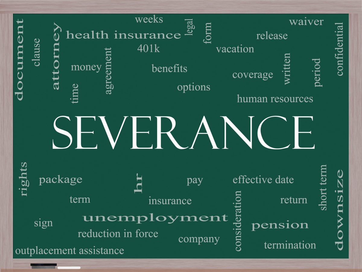 Blackboard image of a severance word cloud and if you need help with severance call a Chicago Severance Agreement Attorney.
