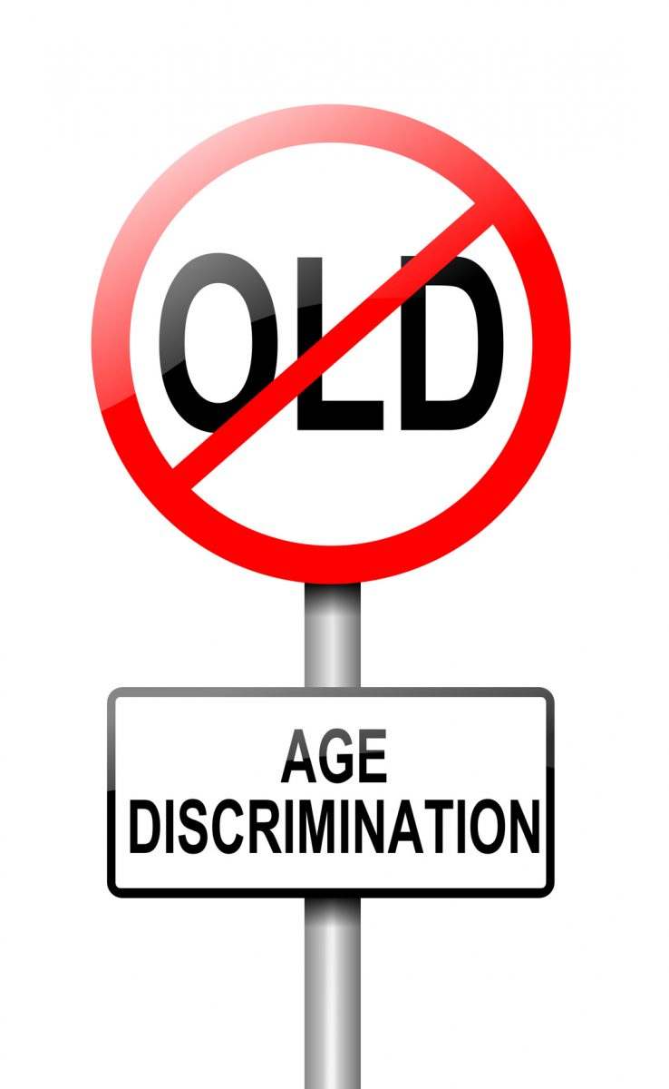traffic sign that says no age discrimination and if you need an age discrimination attorney contact one in Chicago.