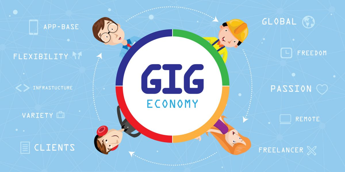 Gig Economy Concept Image and if you need a skilled employment law lawyer look in Chicago.
