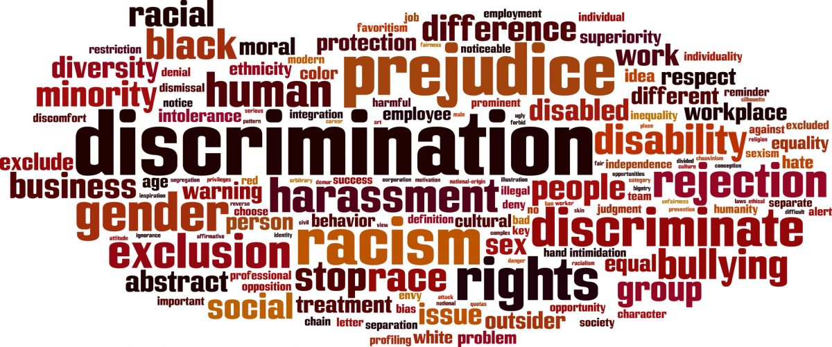 Discrimination word cloud concept and if you need a top discrimination and harassment attorney find one in Chicago loop.