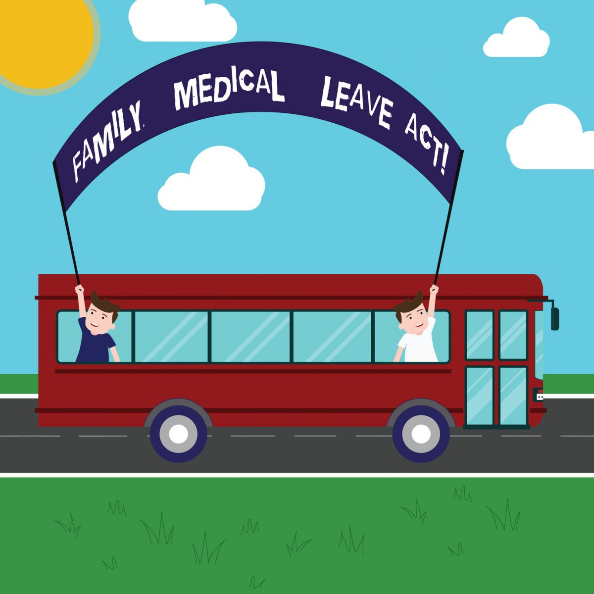 A cartoon of two people on a bus holding a sign that says Family Medical Leave Act representing how our Chicago employment lawyers can assist you with FMLA issues