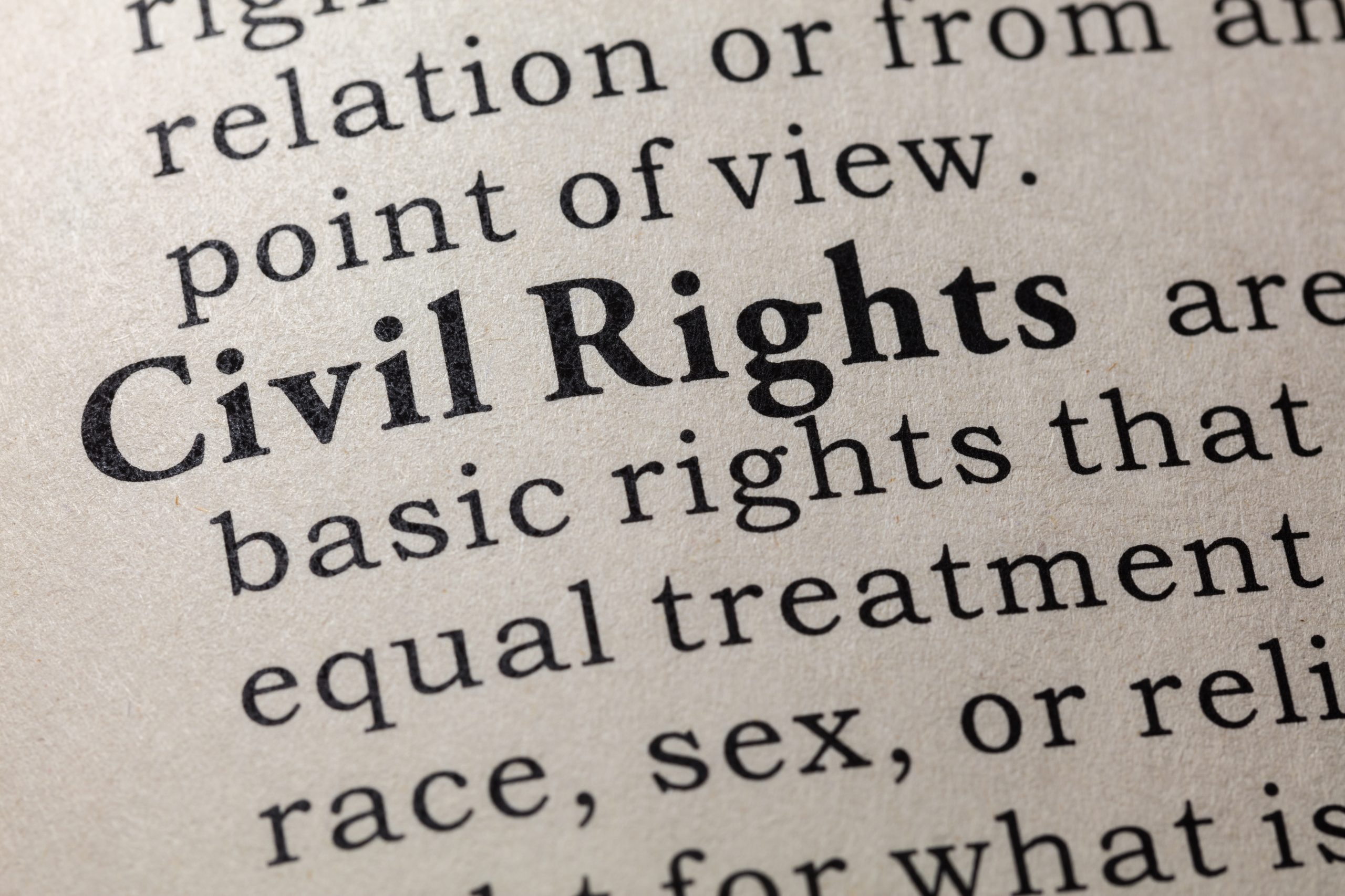 The definition of the term civil rights in the dictionary representing how a Chicago civil rights attorney can help you navigate your case.
